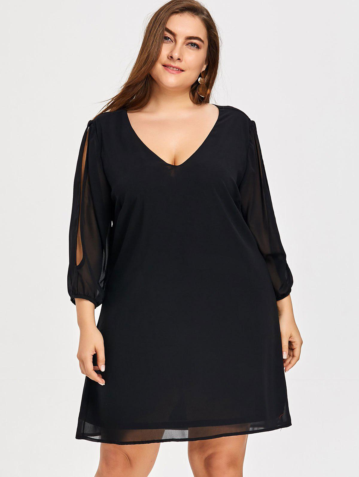 Plus Size Split Sleeve Dress - BLACK 2XL