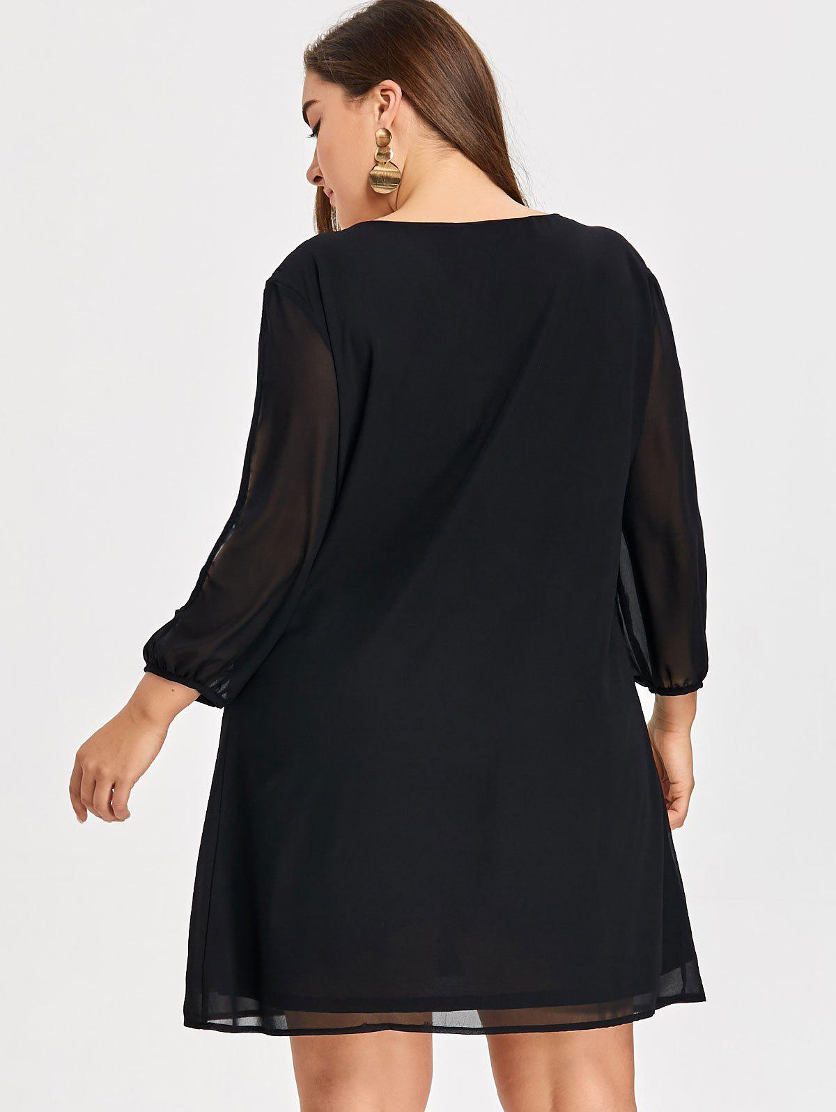 Plus Size Split Sleeve Dress - BLACK XL