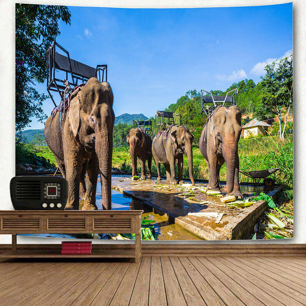 Thailand's Elephants Pattern Wall Hanging Tapestry - COLORMIX W91 INCH * L71 INCH