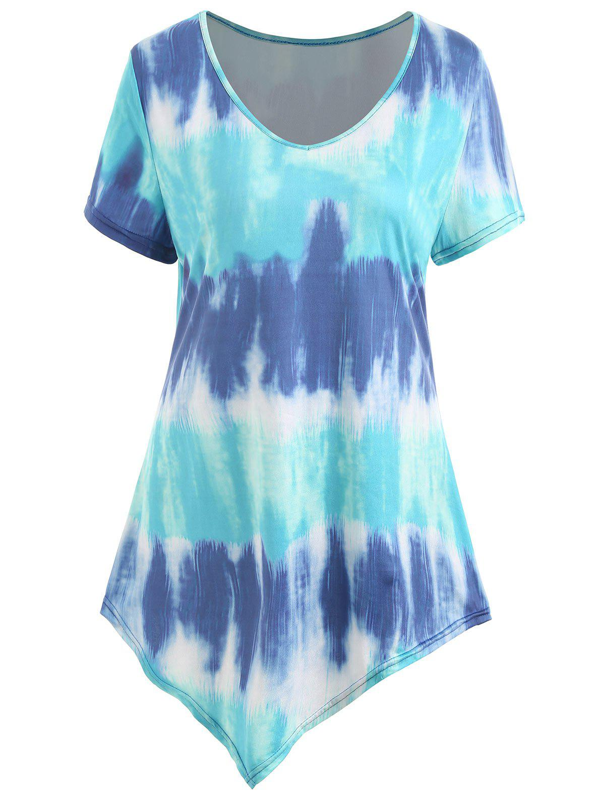 Plus Size Asymmetrical Ombre Tee - BLUE 5XL