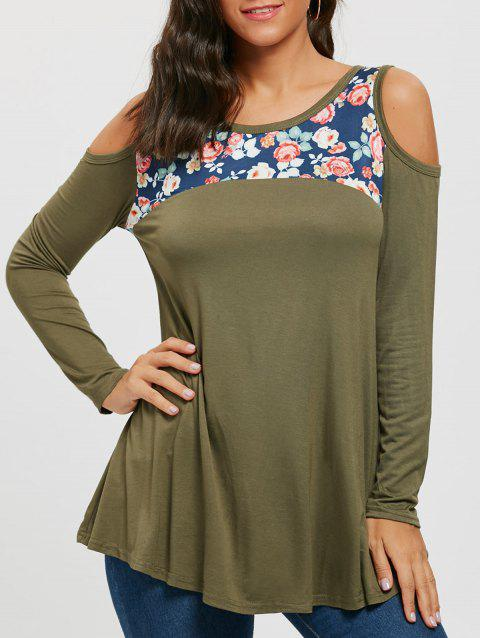 Floral Printed Panel Long Sleeve Cold Shoulder T-shirt - ARMY GREEN S