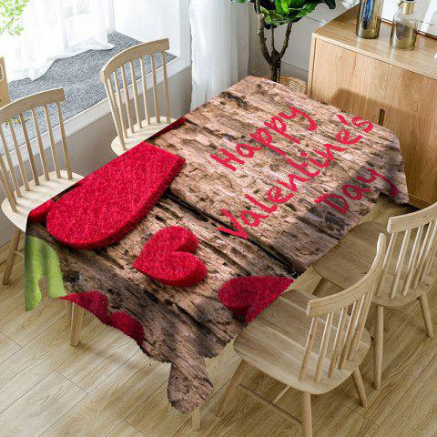 Love Hearts Letter Print Waterproof Valentine's Day Table Cloth - WOOD COLOR W60 INCH * L84 INCH