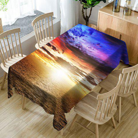 Seaside Sunset Printed Microfiber Waterproof Table Cloth - COLORMIX W60 INCH * L84 INCH