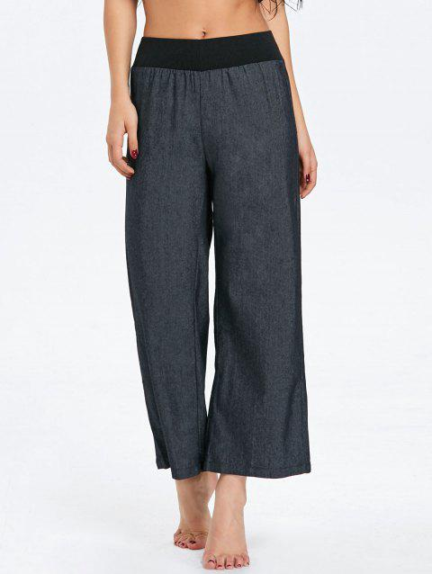 Wide Leg Elastic Waist Denim Pants - BLACK S