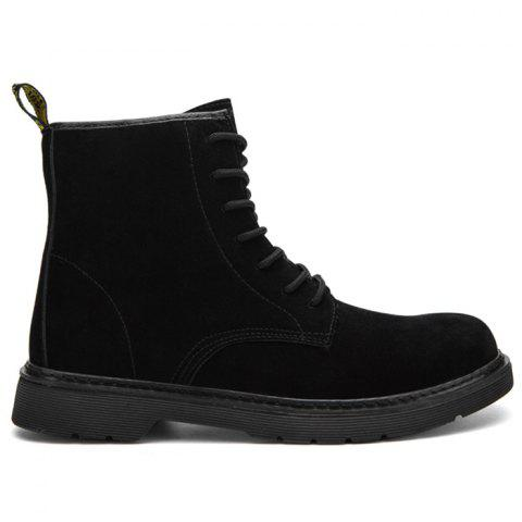 Back Pull-tab Tie Up Chukka Boots - BLACK 42