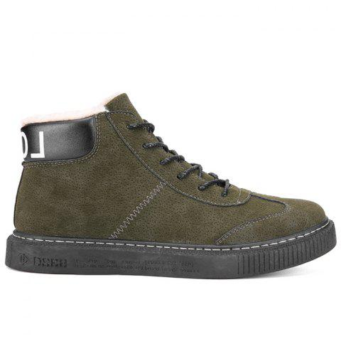 Tie Up Faux Fur Lined Winter Boots - GREEN 43
