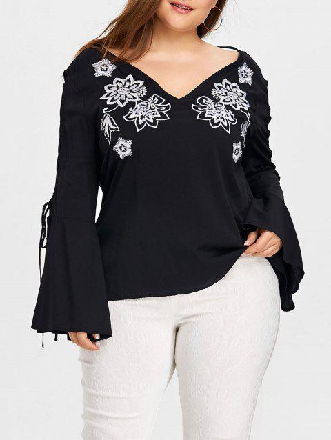 Plus Size Cutout Sleeve V-neck Embroidery Blouse - BLACK 2XL