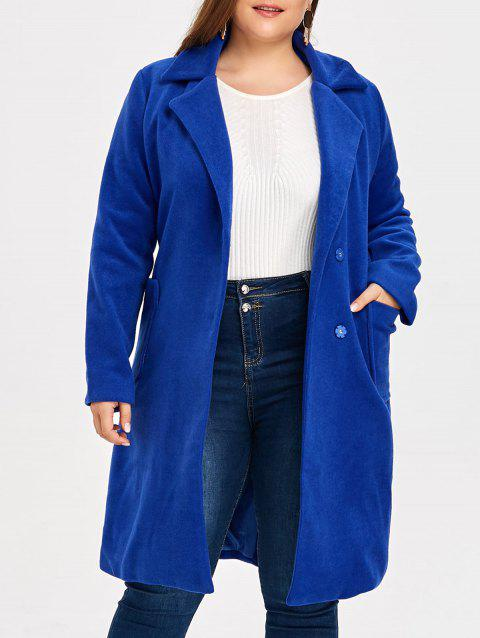 Plus Size Belted Wool Blend Trench Coat - ROYAL 2XL
