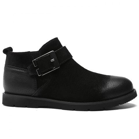 Side Zip Buckle Strap PU Leather Causal Shoes - BLACK 44