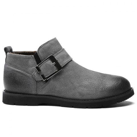 Side Zip Buckle Strap PU Leather Causal Shoes - GRAY 44