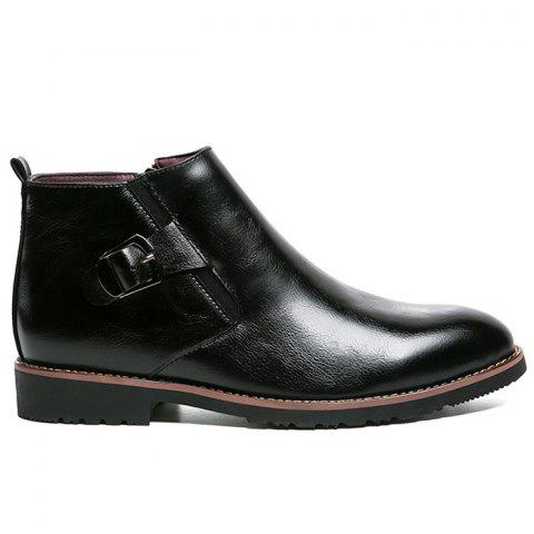 Side Zip Pointed Toe Buckled Chukka Boots - BLACK 40