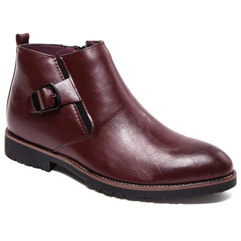 Side Zip Pointed Toe Buckled Chukka Boots - WINE RED 41