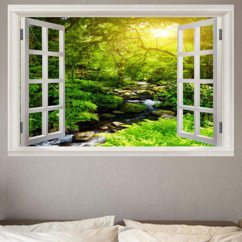 Sunrise Stream Open Window Printed Removable Wall Sticker - GREEN W20 INCH * L27.5 INCH