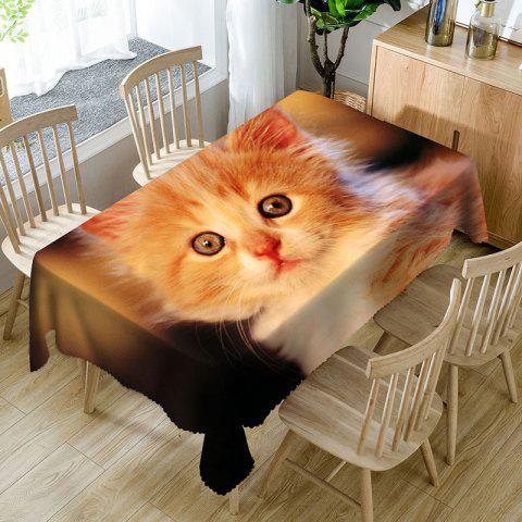 Tissu de table imperméable en microfibre imprimé par chat mignon - Orange W54 INCH * L54 INCH