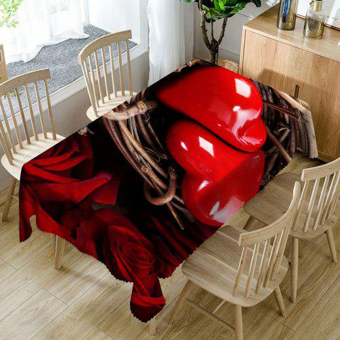 Love Hearts Roses Print Waterproof Valentine's Day Table Cloth - RED W54 INCH * L72 INCH