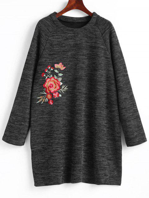 Robe Sweat-shirt Courte Brodée Florale Grande Taille - DEEP GRAY 5XL