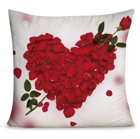 Valentine's Day Rose Petals Heart Pattern Pillow Case - RED/WHITE W18 INCH * L18 INCH