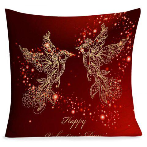 Valentine's Day Abstract Love Heart Birds Print Pillowcase - DARK RED W18 INCH * L18 INCH
