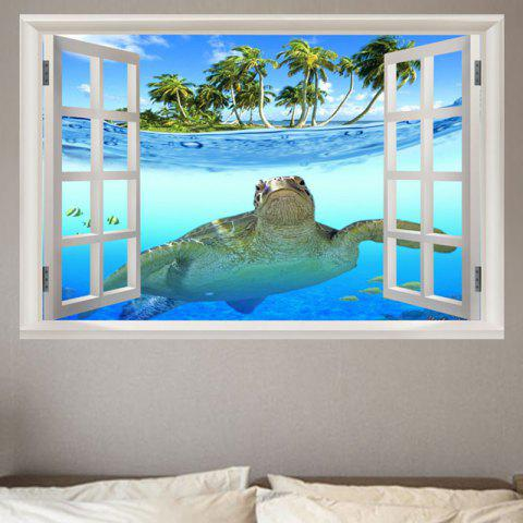 Sea Turtle Swimming Removable Window View Wall Sticker - BLUE W20 INCH * L27.5 INCH