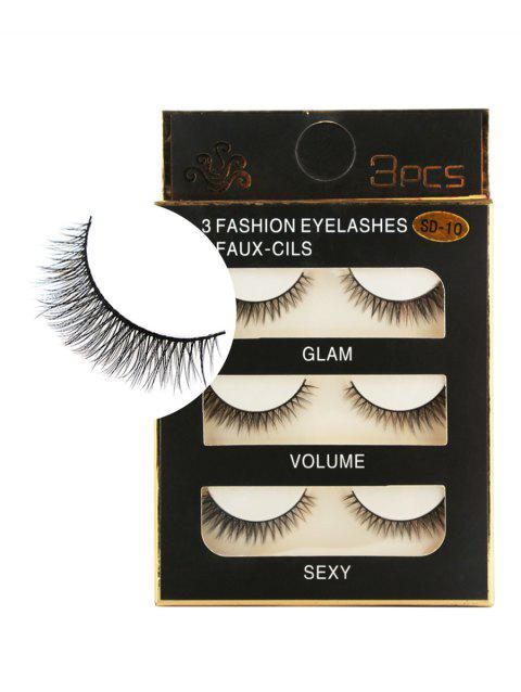 3 Pairs Natural Thick Extensions Crisscross False Eyelashes - BLACK