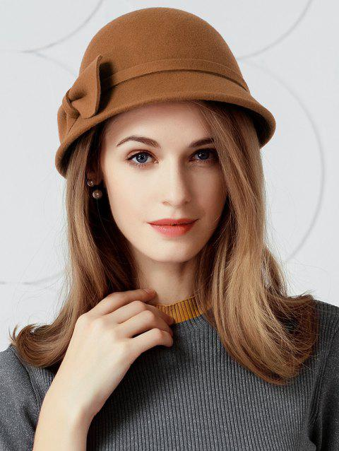 Simple Bowknot Decoration Faux Wool Ladies Hat - DARK CAMEL
