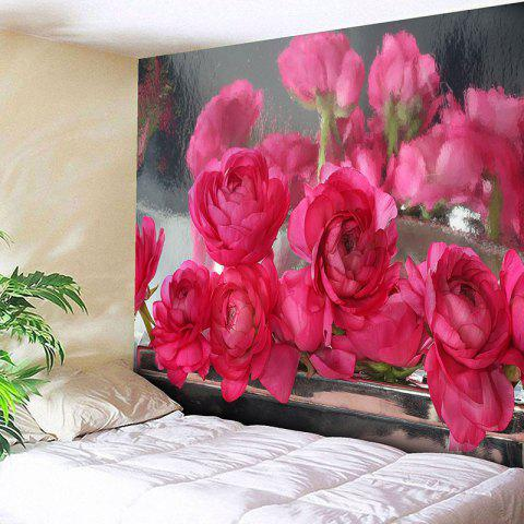 Wall Hanging Rose Flowers Printed Tapestry - DEEP PINK W79 INCH * L71 INCH