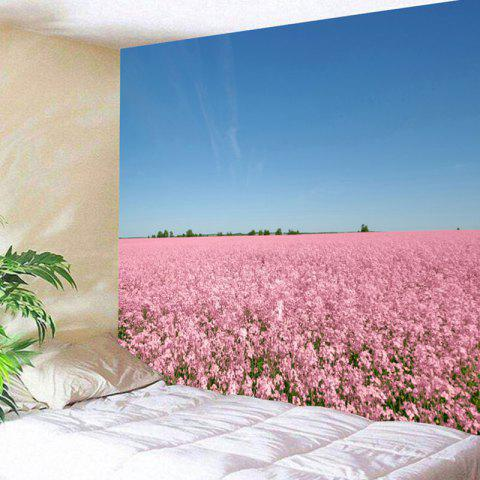 Wall Hanging Flower Field Scenery Tapestry - BLUE/PINK W59 INCH * L51 INCH