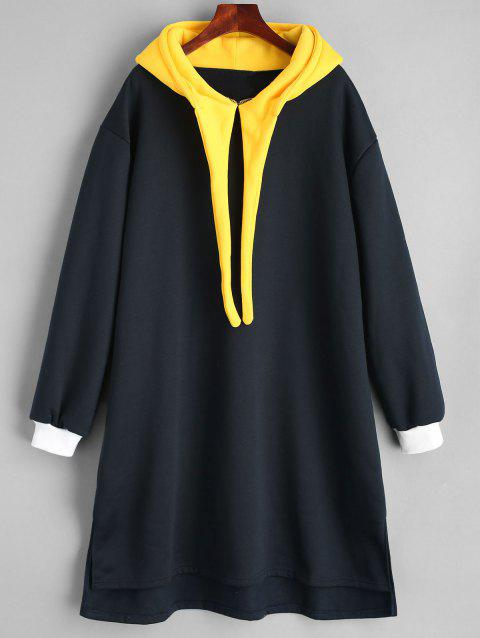 Long Plus Size Color Block Hoodie - BLACK 5XL