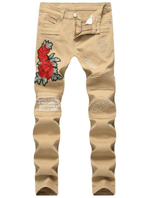 Graphic Print Flower Embroidery Skinny Jeans - KHAKI 36