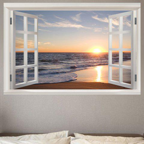 Removable Window View Seaside Sunset Pattern Wall Sticker - COLORFUL W20 INCH * L27.5 INCH