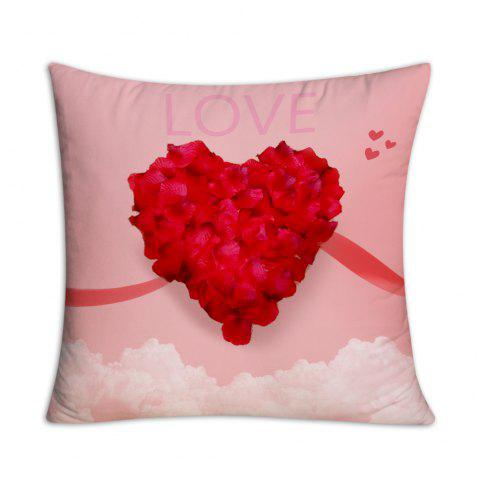 Valentine's Day Petals Love Heart Print Square Pillow Case - PINK W18 INCH * L18 INCH