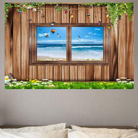 Wood Window Seascape Print Eco-friendly Removable Wall Sticker - WOOD W20 INCH * L27.5 INCH