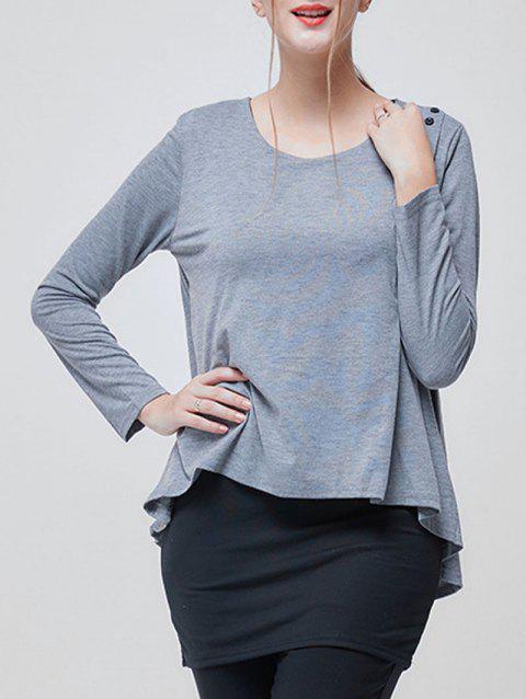 Faux Twinset Long Sleeve Tunic T-shirt - GRAY M