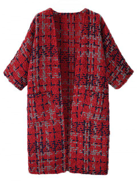 Pockets Long Tweed Coat - RED 2XL