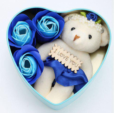 3PCS Soap Roses Flowers and 1PC Bear in a Iron Box Valentine's Day Gift - CYAN 12*11*5CM