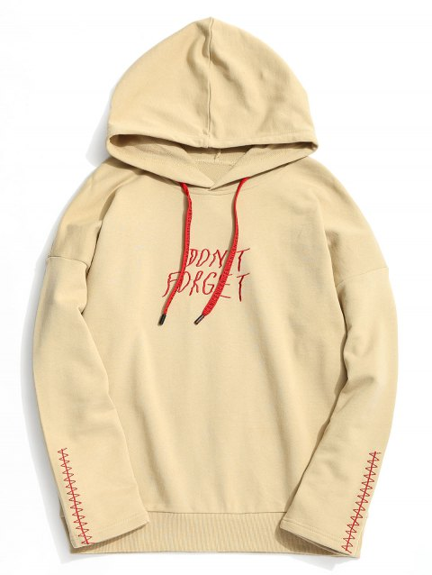 Dont Forget Graphic Embroidered Hoodie - KHAKI XL