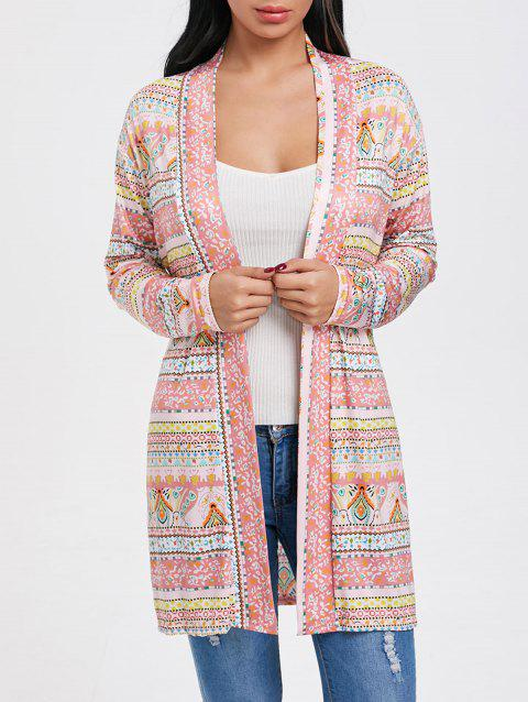 Printed Open Front Tunic Cardigan - multicolor L