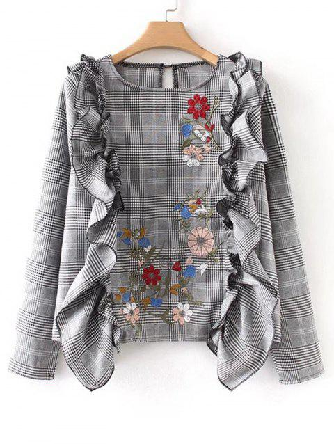 Floral Embroidered Ruffles Plaid Blouse - CHECKED S