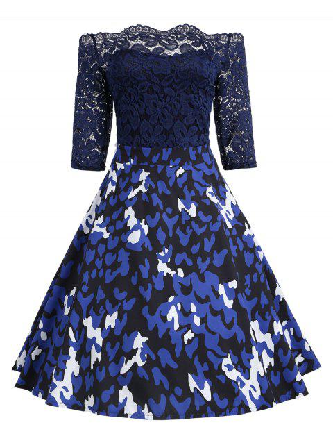 Print Lace Vintage Flare Off Shoulder Dress - BLUE XL