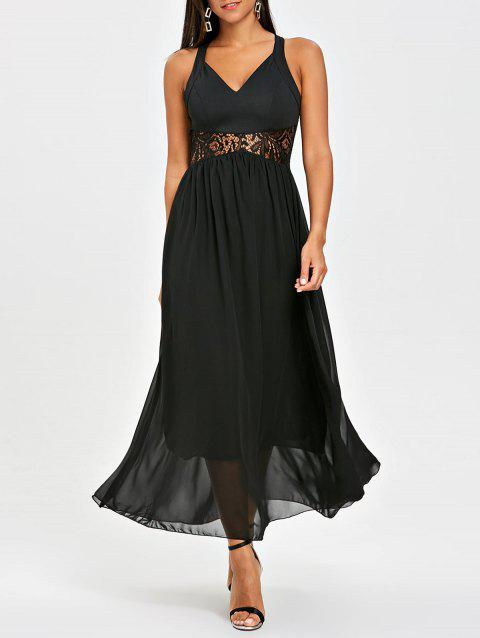 Chiffon Lace Panel Maxi Dress - BLACK L