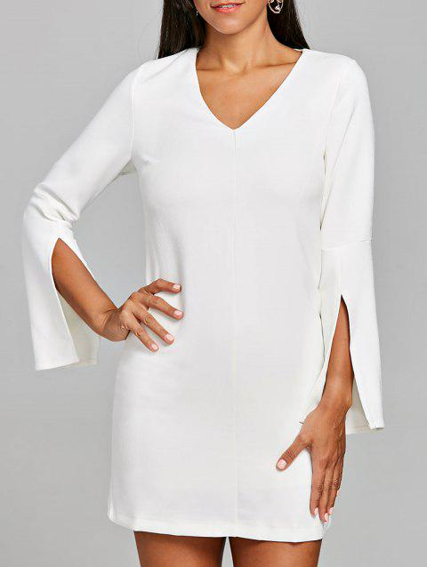 V Neck Split Sleeve Mini Dress - WHITE L