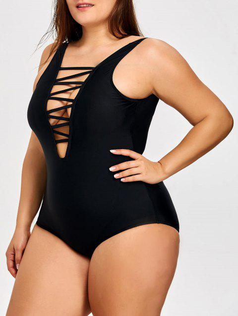 One Piece Lattice Front Plus Size Swimsuit - BLACK 2XL