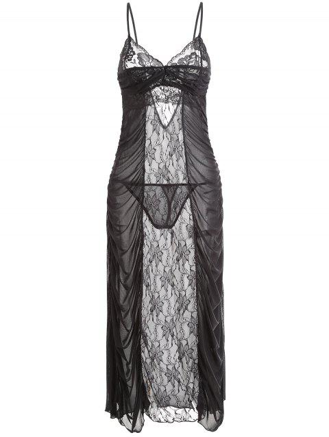 Ruched Lace Mesh Long Slip Dress - BLACK ONE SIZE