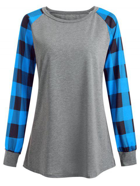 Plus Size Plaid Panel Raglan Sleeve  T-shirt - BLUE 4XL