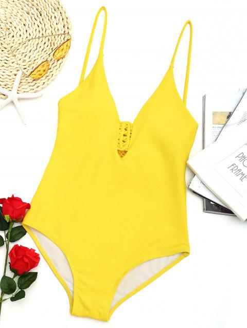 Low Back Macrame Swimwear - YELLOW XL