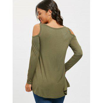 Floral Printed Panel Long Sleeve Cold Shoulder T-shirt - ARMY GREEN ARMY GREEN
