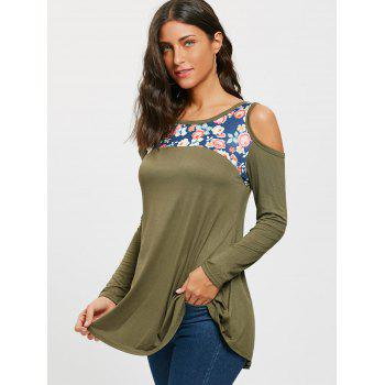 Floral Printed Panel Long Sleeve Cold Shoulder T-shirt - ARMY GREEN M