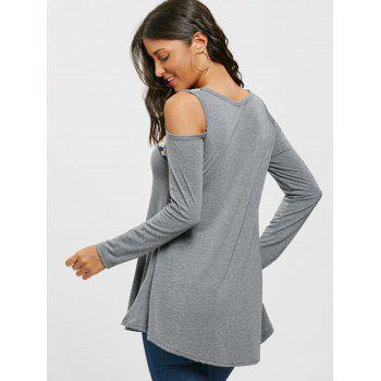 Floral Printed Panel Long Sleeve Cold Shoulder T-shirt - GRAY L