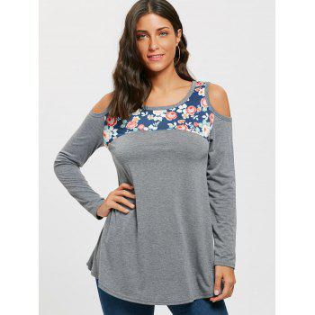 Floral Printed Panel Long Sleeve Cold Shoulder T-shirt - GRAY S