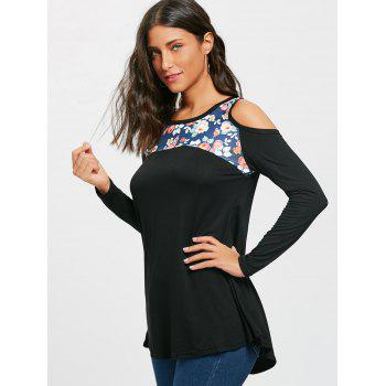 Floral Printed Panel Long Sleeve Cold Shoulder T-shirt - BLACK BLACK